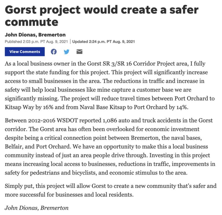 "Kitsap Sun – ""Gorst project would create a safer commute"""