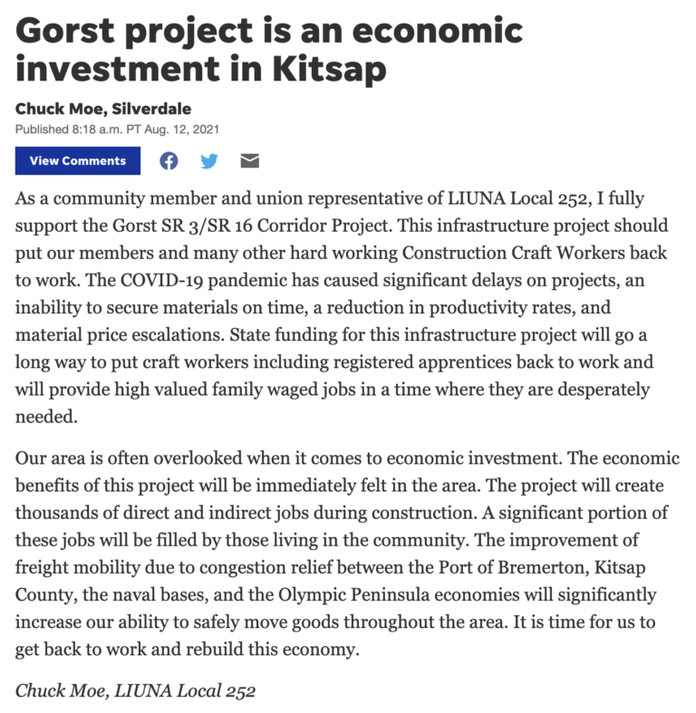 """Kitsap Sun – """"Gorst project is an economic investment in Kitsap"""""""